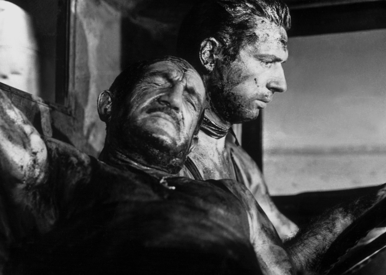 Charles Vanel(left) and Yves Montand (right) in Henri-Georges Clouzot's THE WAGES OF FEAR (1953). Courtesy Janus Films. Playing 12/9-12/22